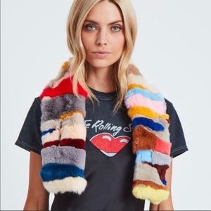 Adrienne Landau rabbit fur scarf